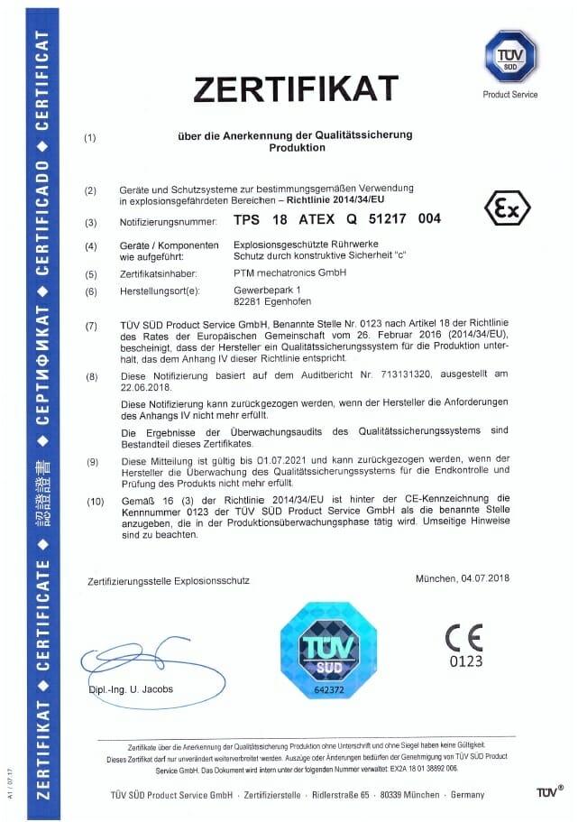 PTM Qualitätsmanagementsystem jetzt auch nach DIN EN-ISO IEC 80079-34 nach RL2014/34/EU zertifiziert