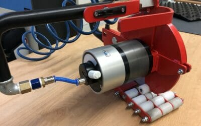 Cut rubber like butter with the compressed air motor from PTM mechatronics