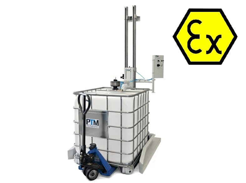 IBC tripod agitator with container and lifting station, ATEX certified