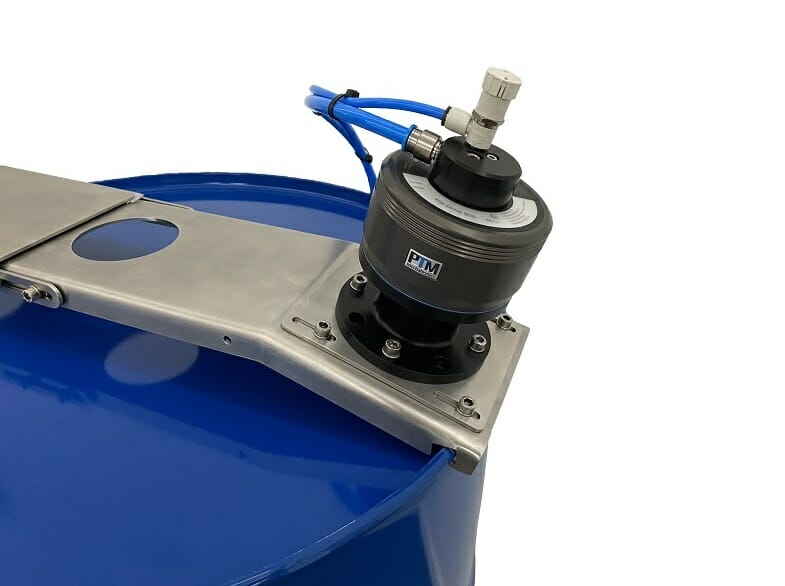 ATEX agitator for tight head drums with adjustable traverse