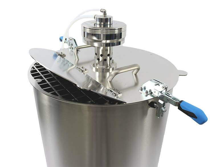 Stainless steel agitator with lid, handles and food-safe hoses