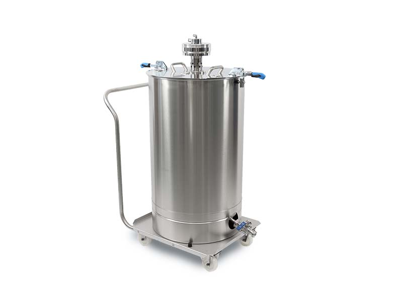 Stainless steel agitator with stainless steel drum and trolley